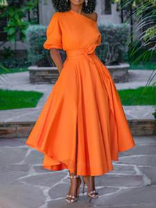 Luxury One-Schulter-Entwerfer-Frauen Kleider Beiläufiges Soild Farbe mit Schärpen Frauen Kleider Unregelmäßige Damenmode