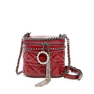 Fashion red bucket bag ladies cylindrical wild leather crossbody bag designer luxury shoulder tassel chain handbag bag birthday gift 1339