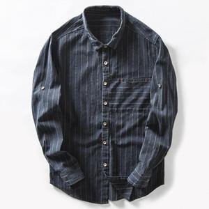 Mens Striped Cotton Linen Shirts Long Sleeve High Quality Cotton Casual Shirt Man Slim Business Dress Shirt Male Tops TS-297