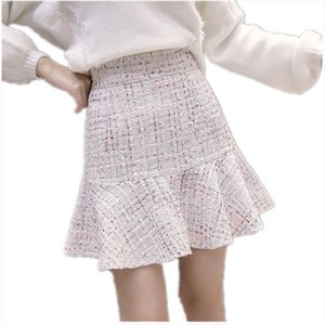 New 2020 Autumn Winter Women Mermaid Skirt Sexy Mini Tweed Skirt White Black High Waist Elegant Lady Plus Size Party Skirts