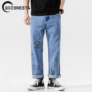 Goesresta Coreano Fashoins Jeans Pantalones Hombres Vintage Pantalones rectos Hip Hop Streetwear Harem Pants Harajuku Hombres Jeans 201128