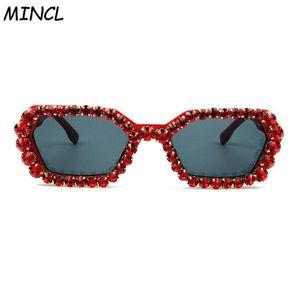 Sunglasses Vintage Narrow Women Designer Bling Gravel Rhinestone Retro Small Ladies With Box FML