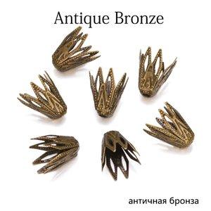 100pcs lot 810 mm gold filigrane cône bouchons fines perles creuses fleur pour bricolage bracelet boucles d'oreilles bijoux fabrication H BBYOSU