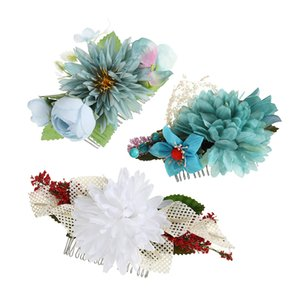 Bridal Flower Hair Clips Double Rose Hairpin Brooch Headwear Wedding Bridesmaid Party Women Hair Tools Accessories