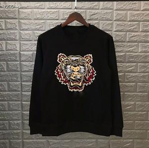 Mode-Tiger-Kopf Hoodie gestickte Sweatshirts Pullover-Shirts-Pullover Herbst Frühling Unisex Pullover Beiläufige Streetwear Hohe Qualität