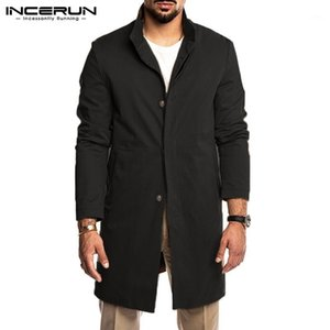 Autumn Winter Men Trench Solid Windproof Streetwear Lapel Coats 2020 Long Sleeve Jackets Button Chic Fashion Windbreaker INCERUN1