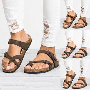 Women Sandals T Strap Cork Summer Shoes Footbed Platform Flat Sandals Female Plus Size Flip Flop Ladies Soft Bottom Slippers YuTQ#