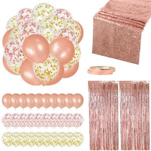 35pcs / Set Rose Gold Geburtstag Hochzeit Hauptdekoration Kit Tinsel Vorhang Baby Shower Weihnachten Hen Party-Ballone