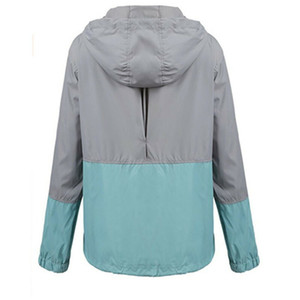 Femmes Été Automne Manteaux Mode femme coupe-vent imperméable Rain Jacket mince manteau à capuchon Zipper Sporting Casual Big Taille