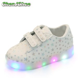 Mumoresip primavera otoño niños zapatos niños niñas led zapatillas ligeras zapatillas de cuero de la PU de los niños estrellas brillantes luminoso t200708