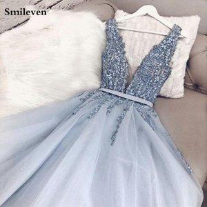Smileven Blue Sky 2020 vestidos de noche una línea de mangas de tul Apliques Perlas de hendidura Dubai Arabia árabe largo vestidos de noche Plus