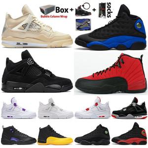 Jumpman 4 4S Hombres Zapatillas de baloncesto Crema vela Gato negro 12 12s Dark Concord 13 13s Hyper Royal Black Cat Womne Deportes Sneakers