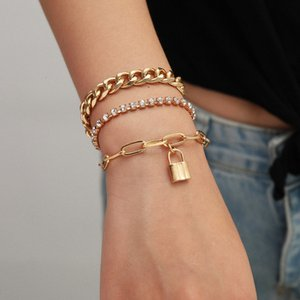Gold Charm Lock Chains Hip Hop Bracelet Diamond Stackable Bracelets for Women Fashion Jewelry Will and Sandy Gift