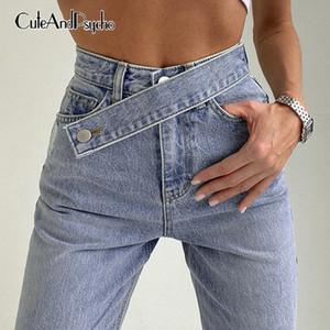 Streetwear корейского Y2k для женщин Моды высокой талии Мешковатых денима джинсов Harajuku штаны бегуны Cuteandpsycho