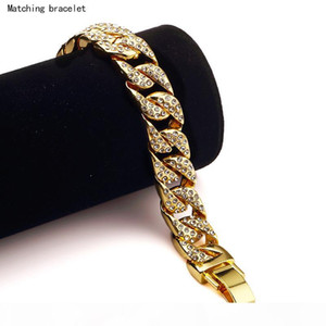 High Quality 24K Solid Gold Plated MIAMI CUBAN LINK Chain Shiny Diamond Bracelets Hip Hop Bling Jewelry Hipster Men Wristband Bangle