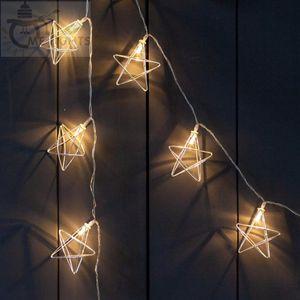 Novidade Led luzes feericamente 20 da estrela do metal Luz Cordas Battery Powered férias Garland Luz para festa de Natal de casamento Decoração SWY wmtYZX