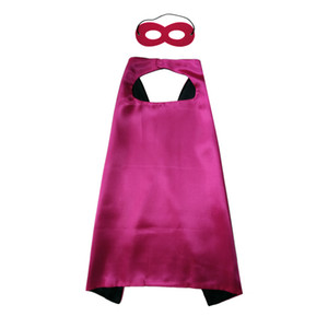 Enfants Superhero Capes avec masque 100 PC / Set 2-Couche 70 * 70 cm Enfants Satin Costumes Costumes Costumes Halloween Party Favors