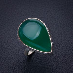 StarGems Natürliche Chrysopras Handgemachte 925er Sterlingsilber Ring 5.75 E2783 W1231