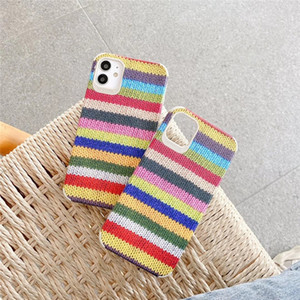 Korean woolen pattern iphone 11 11pro xs max 8 7 plus se2020 case fashion coloful stripe soft silicon shockpoof cover