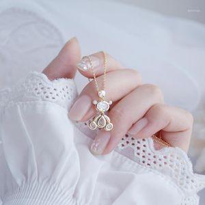 Bear Women Necklace 14k Real Gold Elegant Zircon Necklace Birthday Gift Jewelry Brincos1