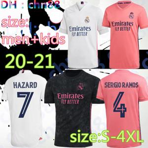 2020 2021 Größere Größe XXL XXXL XXXXL Real Madrid Fussball Jersey 20 21 Bale # 11 Assenssio # 20 Hazard 7 # Sergio Ramos # 4 Patch Football Hemden