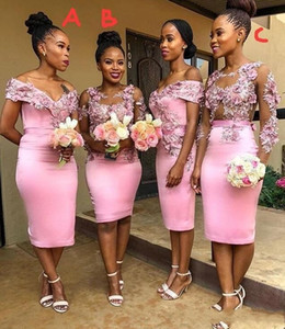 2021 Cheap Pink African Bridesmaid Dresses Sexy Sheath Off Shoulder Knee Length Flowers Prom Evening Gown Formal Party Wedding Guest Wear