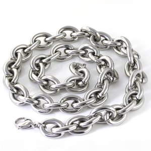 High Polished Jewelry silver Stainless Steel Large Oval curb link Chain Necklace for Men's Gifts Big 15mm Smooth Chain 20''-4