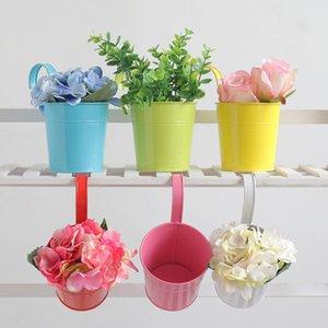 Олово Цветок ведро Подвесной Горшок цветов конфеты цветов Металлические висячие горшки Сад Балкон Стена Vertical Повесьте Bucket Home Decor
