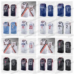 2020 남성 스포츠 폴 조지 Kawhi Leonard Lou Williams Navy City Basketball Jersey