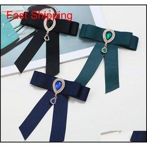 Heißer verkauf neue großhandel - pin broschen förderung ribbon trendy unisex diamant schmuck brosche bogen brosche hemd kragen blume krawatte qcpbq
