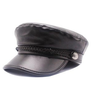 Beret Female Autumn Winter Hats For Women Ladies 100% Pu Leather Beret Cap Boina Feminina Gorras Bone Vintage England Black