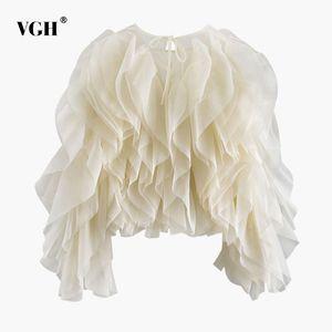 VGH Elegant Patchwork Ruffle Chiffon Blouses Women O Neck Lantern Long Sleeve Loose Shirt Female Clothes Fashion Summer New 201027