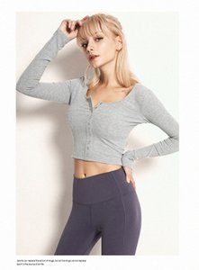 LULU Women Yoga sweatshirts High Waist Sports Gym Wear Color Breathable Stretch Tight sleeve Skinny shirts Women Athletic Joggers clot s8VB#