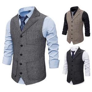 Mezcla de lana para hombre chalecos de solamente cuello de solapa slim blazers chalecos Mutil bolsillos hombres guapo abrigos