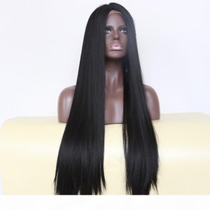 Natural Black 1b# Middle Part Long Silky Straight Synthetic Full Wigs Heat Resistant Synthetic Lace Front Wigs for Black Women
