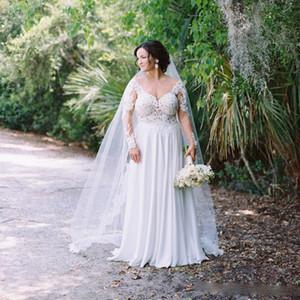 Plus Size Boho Wedding Dresses Sexy Backless Illusion Neck Long Garden Summer Beach Bridal Gowns Long Sleeves Lace Chiffon Wedding Dress