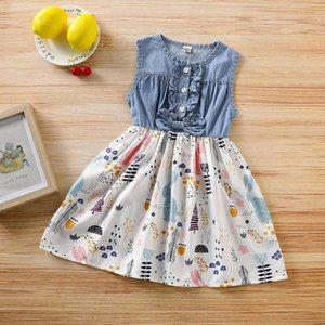 La mejor venta de chicas vestidos de verano de 2020 día de Pascua de la manera sin mangas Denim Empalme Imprimir Vestidos Vestido Infantil CWCA #