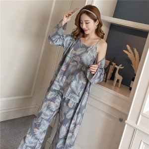 Cotton Robes Sets for Women 2018 New Autumn Winter Fashion Long Sleeve Pajama Femme Flower Print Bathrobe Homewear Home Clothing T200111