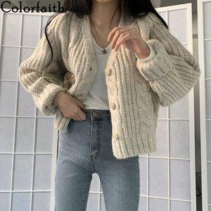 Colorfaith New Otoño Invierno Suéteres Mujeres Cuello con cuello en V Cardigans de gran tamaño Moda coreanos Knitarswears SWC755 Y200915