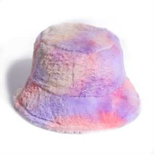 New Pink Faux Fur Bucket Hat For Women Girl Rainbow Tie Dye Soft Warm Fishing Cap Fisherman Gorros Winter Lady Gifts
