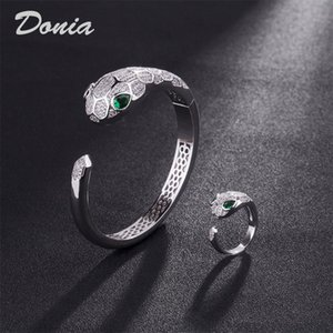 Donia jewelry European and American fashion exaggeration Classic Animal micro inlay Zirconia Bracelet Ring Set women's bracelet ring birthda