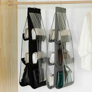 Подвесной Двухсторонняя сумка для хранения настенный монтаж с крючками высокой емкости Прозрачный влагоизолирующие сумки Органайзер Простой стиль 5 8af F2