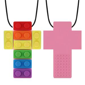 Nouveau bébé Teether arc-en-briques Chew Collier bébé silicone Teether autisme sensorielle Chew Outils de thérapie pour enfants Jouets Chewy 7 Couleurs