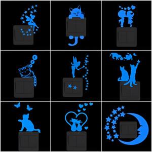 Pegatina de interruptor de luz pegatinas de pared luminosa Dibujos animados brilla en la etiqueta oscura Calcomanía para niños Decoración de la habitación Decoración del hogar Cat Fairy