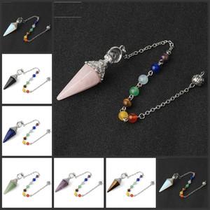Natural Stone Pendants Necklace Alloy Chakra Healing Crystals Multi Color Hexagonal Pyramid Pendulum Meditation Fashion Chain 12 5hs K2
