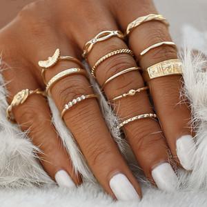 12 unids chapado en oro anillo moda vintage cristal aleación mujer hombre traje anillos ornamentos boda venta caliente 2 7my k2b