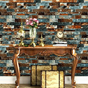 papel de parede Imitation brick wallpaper retro nostalgic antique old 3d stone pattern marble background wall paper