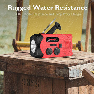 Juropin For Emergency Weather AM FM NOAA Solar Powered Portable Radio with 2000mAh Power Bank for LED Flashlight