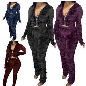 Plus Size Mulheres Treino Zipper Hoodie Two Piece Sportwear drapeado Velour com capuz revestimento do revestimento Cortar Tops plissadas Legging Calças Roupas F92911