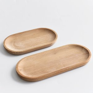 Solide Mini Oval Holztablett 18 cm Kleine Holzplatte Kinder Ganze Holzplatte Holzfrucht Dessert Dinner Platte Geschirr DB 25 G2